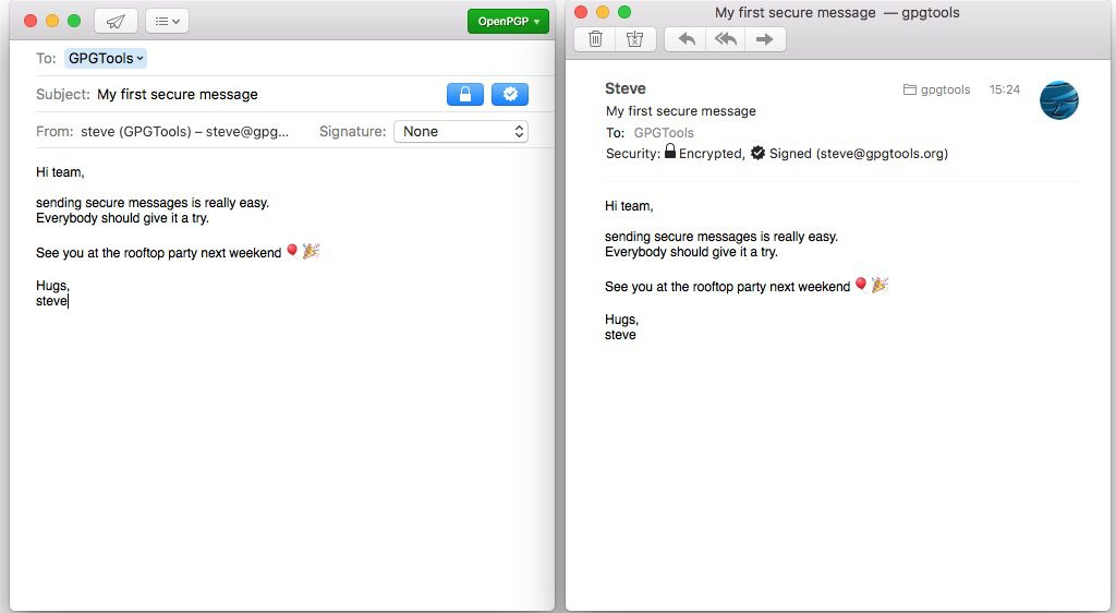 invio e ricezione di messaggi email firmati e cifrati